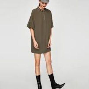 ZARA- DRESS WITH RIBBED NECKLINE